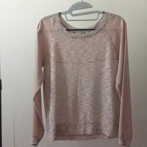 Forever 21 Pink Top with Sheer Long Sleeves